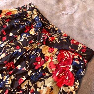 Black, floral high waist midi skirt